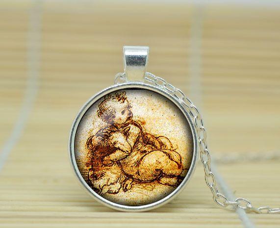 1 шт. Леонардо да Винчи рисунок ожерелье Леонардо да Винчи рисунок кулон Леонардо да Винчи вытяжки Стекла Кабошон NecklaceA0684