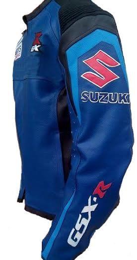 Suzuki Blue premium cowhide leather mens leather racers jacket  jacketsaturn.com