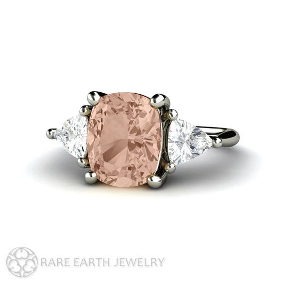 Morganite Cushion 3 Stone Engagement Ring Morganite Ring by RareEarth
