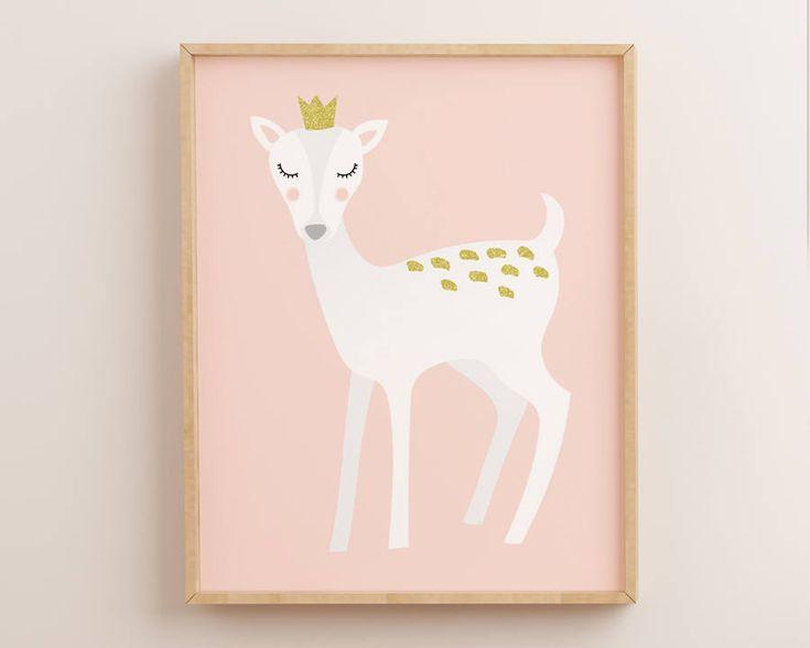 Nursery Wall Art, Pink Nursery, Deer Nursery Decor, White Deer, Deer Nursery, Deer Nursery Art, Woodland, Nursery Decor, Nursery Prints, by AdornMyWall on Etsy