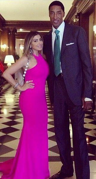 Scottie Pippen & Larsa Pippen, who was pretty in a pink Michael Costello Gown at Kimye's Wedding