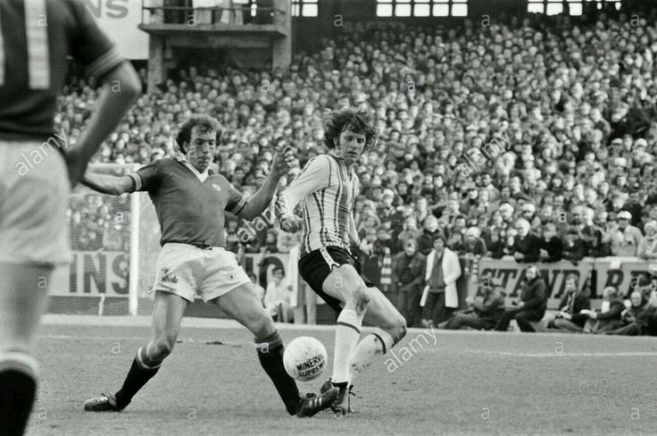 Southampton 2 Man Utd 2 in Feb 1977 at The Dell. Stewart Houston tackles Mick Channon in the FA Cup 5th Round.