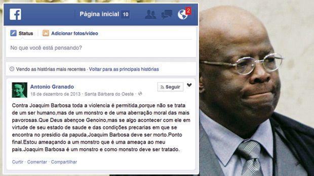 PF identifica um dos autores de ameaças de morte a Joaquim Barbosa .  Homem que desejava atentar contra a vida do presidente o STF é um integrante da Comissão de Ética do PT. E agora?____ http://veja.abril.com.br/noticia/brasil/pf-identifica-um-dos-autores-de-ameacas-de-morte-a-joaquim-barbosa