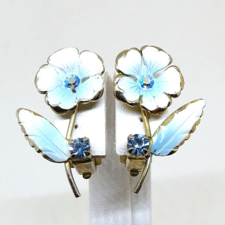Blue and White Earrings - Vintage, Gold Tone Floral, Blue Rhinestones, White Enamel, Made in Austria Clip-on Earrings by MyDellaWear on Etsy $18