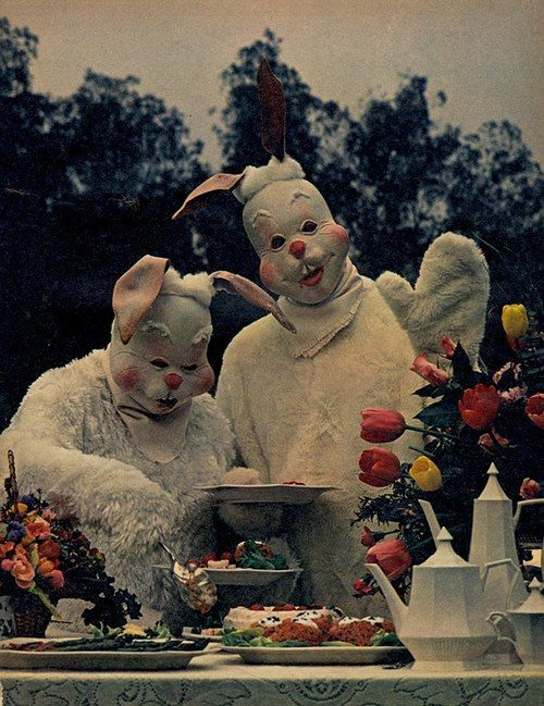 Bunny Buffet - bunny clowns - the missing ear on the right pushes it way past creepy