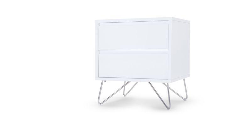 Elona+Bedside+Table,+White+Gloss