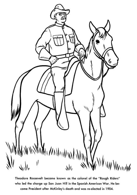 Presidents Day Coloring Pages Theodore Roosevelt Facts Theodore