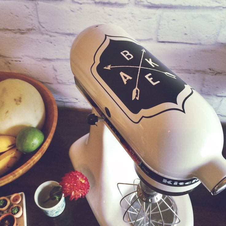 This is such a cool and simple Kitchenaid mixer decal set for the connsumate baker. It has a retro hipster feel, is chic and subtle, and a ton of fun. Because baking? Yeah, it's pretty much the best t