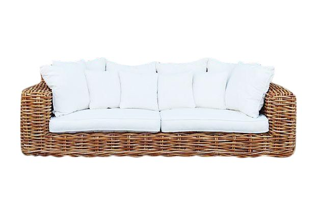 Ralph Lauren Style Large Wicker Rattan Sofa