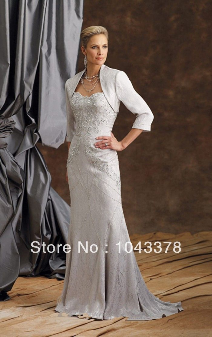 2013 Floor Length Silver Lace Winter Dress New Arrival