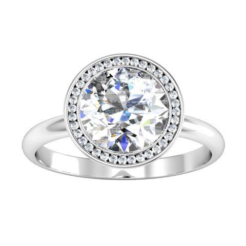 Round Bezel Halo Engagement Ring