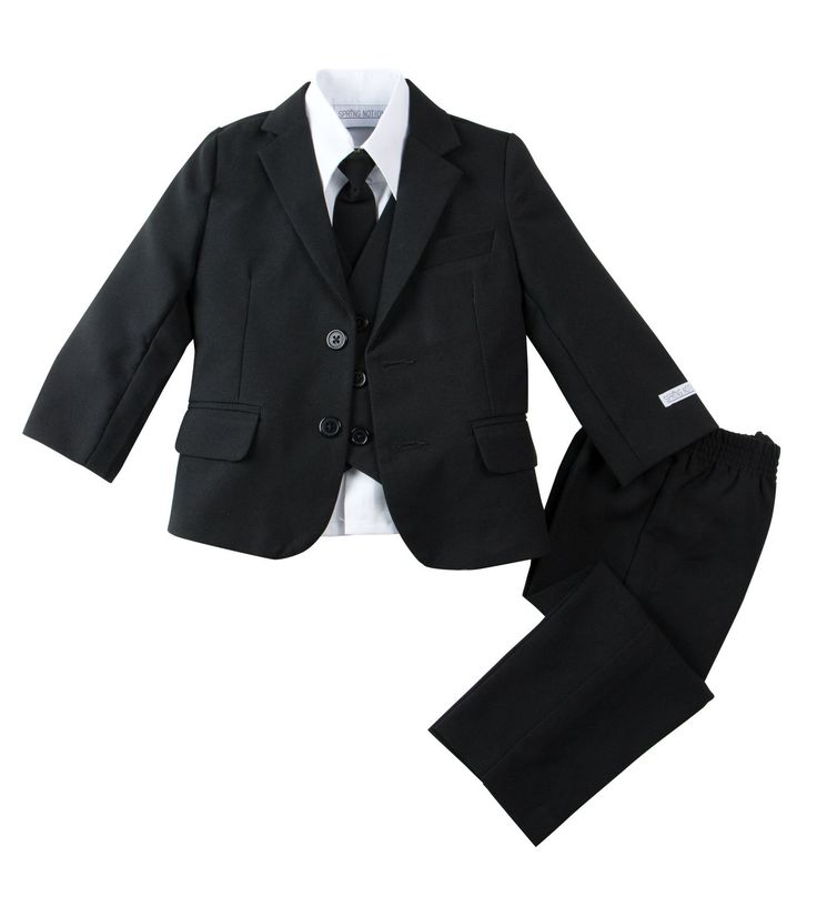 Spring Notion Baby Boys' Modern Fit Dress Suit Set Medium/6-12M Black. Single breasted jacket, slightly tapered at the waist. Fully lined. 100% Polyester. White long sleeve dress shirt (65% polyester, 35%cotton). For size 2T-4T, pants has flat front and elastic back. For size 5 to 20, pants has button zipper front and elastic sides. Fully lined vest has adjustable straps at back. For up to size 6, neck tie is a clip tie, for size 7 and up adjustable around the neck tie with buckle at back...