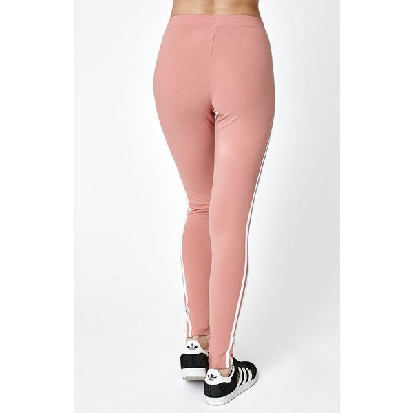 adidas Pink 3-Stripes Leggings ($35) ❤ liked on Polyvore featuring pants, leggings, adidas leggings, adidas trefoil leggings, embroidered pants, pink striped leggings and stripe pants