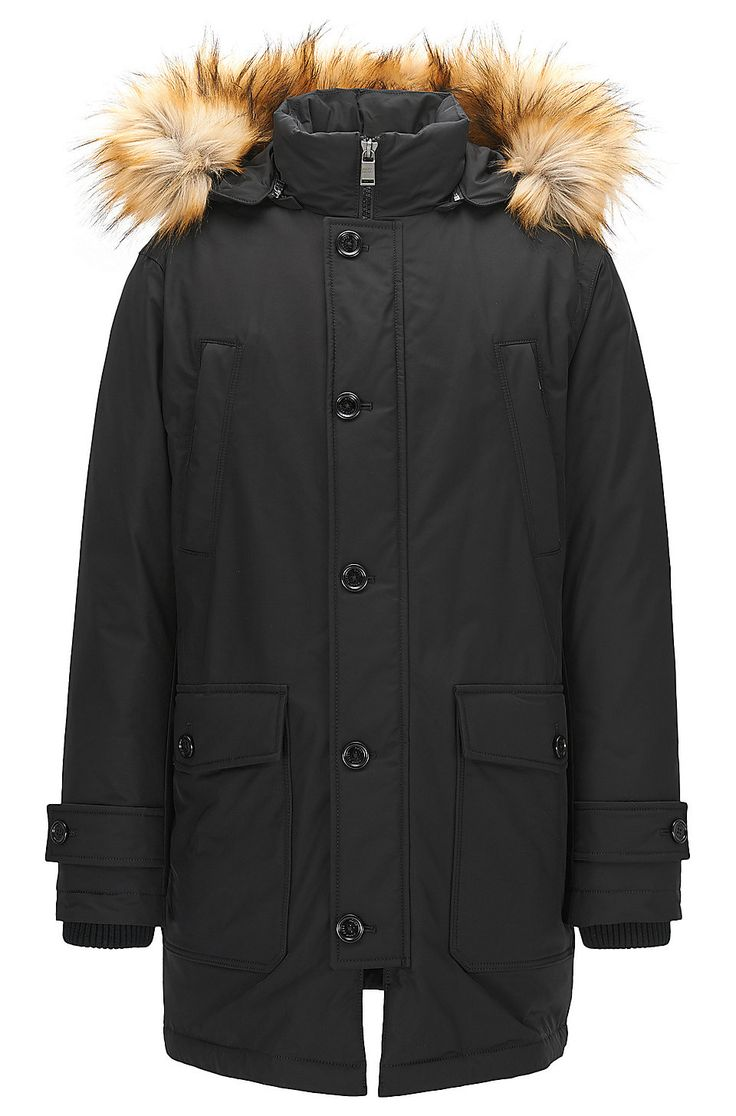 Faux Fur-Trim Parka | Delano Black from BOSS for Men for $895.00 in the official HUGO BOSS Online Store free shipping