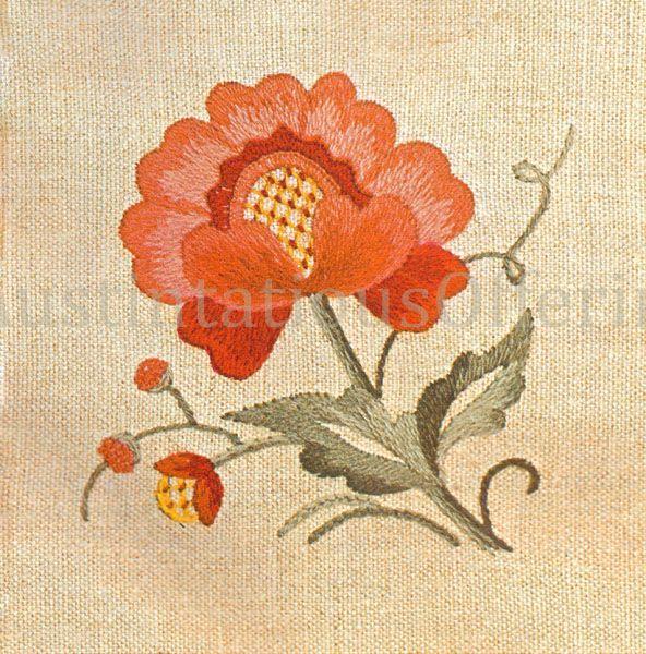 Rare Orange Jacobean Flower Beginner Crewel Embroidery Kit Teach