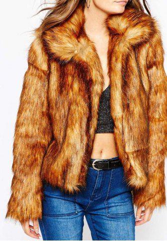 Fashionable Turn-Down Collar Long Sleeve Faux Fur Coat For Women