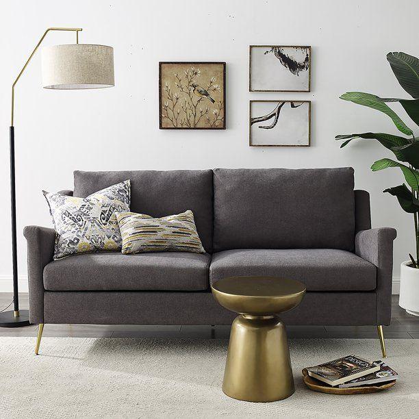 Apartment Sofa With Gold Legs Grey Walmart Com In 2020 Grey Sofa Living Room Apartment Sofa Gold Sofa