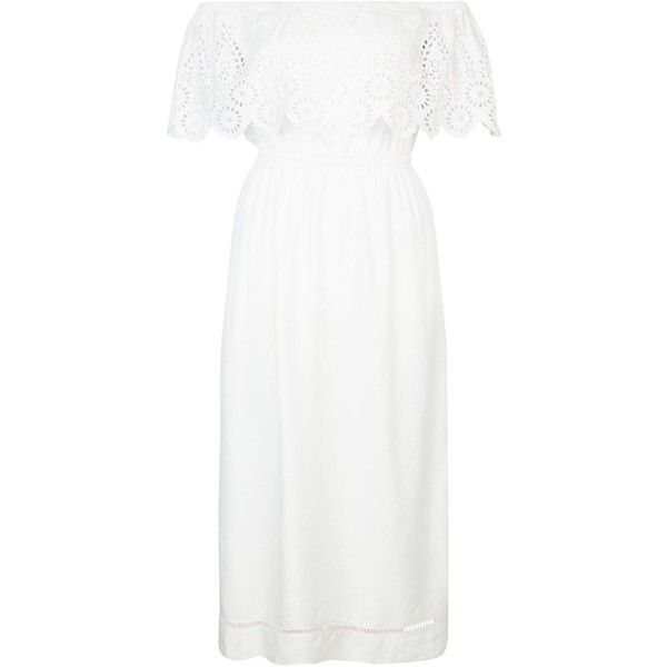White Cut Out Frill Trim Bardot Neck Midi Dress (€34) ❤ liked on Polyvore featuring dresses, white dress, cut out midi dress, white frilly dress, calf length dresses and frilly dresses