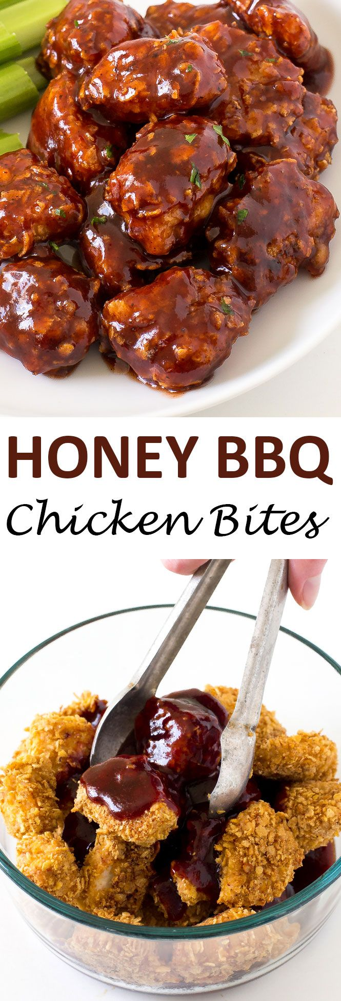 Baked Honey Barbecue Chicken Bites coated in crunchy cornflakes and tossed with a sweet Honey Barbecue Sauce! Perfect as an appetizer or for dinner!   chefsavvy.com #recipe #honey #barbecue #chicken #bites #dinner #cornflakes