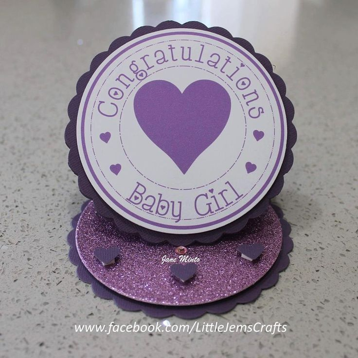 New baby girl card - circle easel style - handmade card by MintsDesigns on Etsy