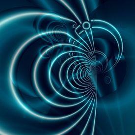 Blue Lines Fraktal,Konzept,Gedanken,Kühl,Glänzend,Stärke,Verstand,Blau,Intelligenz,Rund,Gebogen,Symbol, Eleganz,Form,Künstlich,Design,Abstrakt,Licht,Schatten,Rendering,Hintergrund,Claudia Gründler,Digitale Kunst,Feng Shui,Relax,Balance,Wellness,Ästhetik,Schön,Computerkunst,Fraktale Kunst,Algorithmus