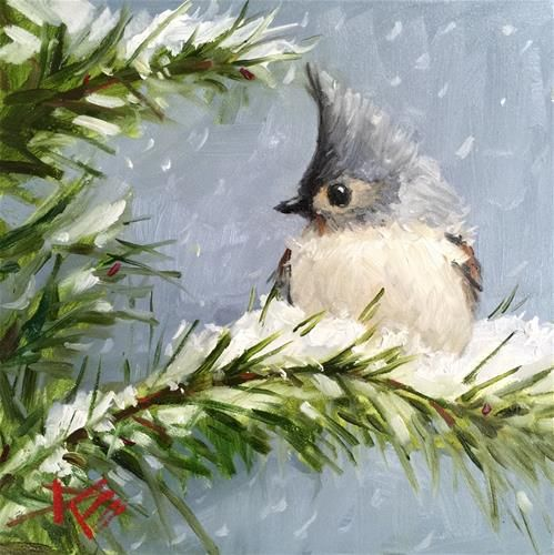 "Daily Paintworks - ""Winters Friend"" - Original Fine Art for Sale - © Krista Eaton"