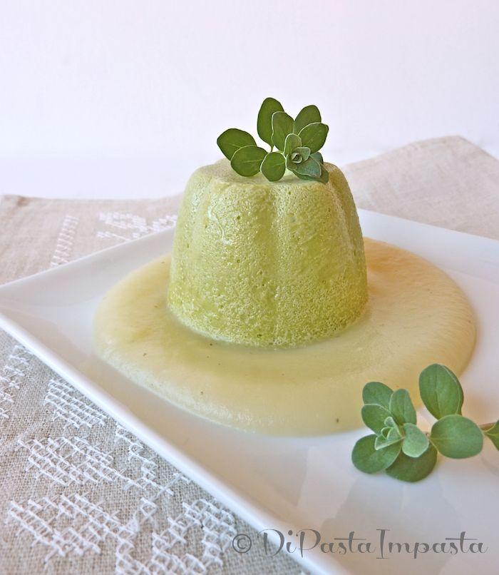 Flan di piselli con crema di patate
