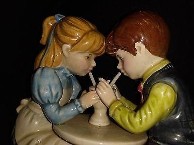 """Otagiri musical figurine, boy girl sharing soda, """"everybody loves somebody"""""""