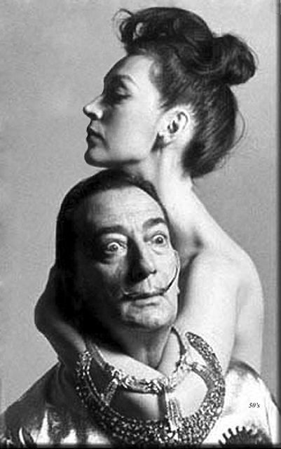 Dovima photographed with Salvador Dali in 1955, by Richard Avedon