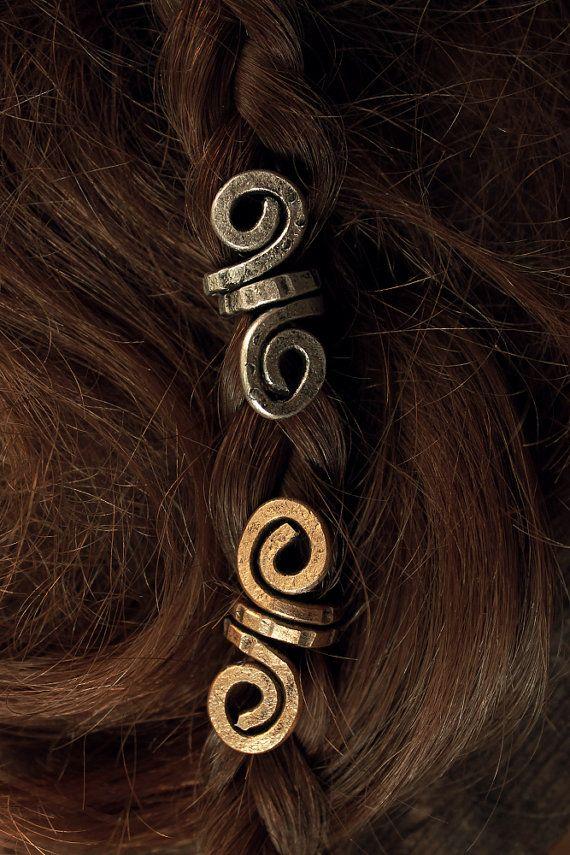 2 Custom Small Viking hair beads • Spiral coils • Beard jewelry • Dwarven beard coils • Bead hair accessory • Dreadlock hair accessories