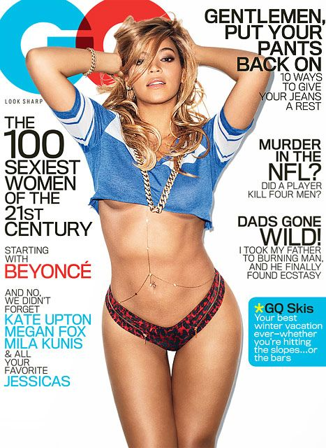 Beyonce flashes cleavage and amazing abs on the cover of GQ 12 months after Blue Ivy was born