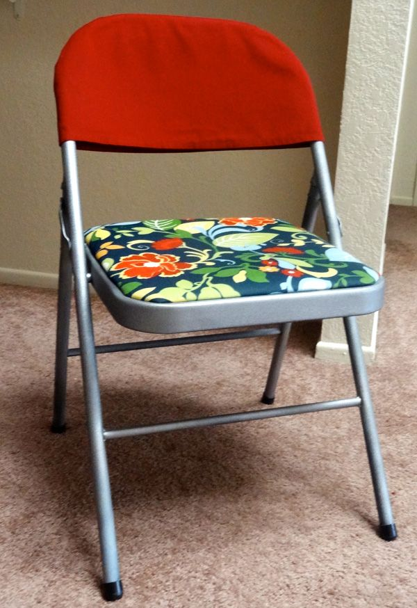 Folding chair makeover tutorial (From www.twinkleandtwine.com)-we just got a set, so it is in good shape, but it could use some dressing up for family get togethers!