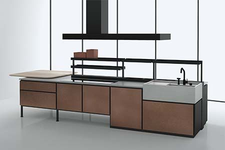 The Salinas #kitchen from Boffi (pictured above) and designed by Patricia Urquiola consists of a tubular #metal structure made of modules that can be matched together. It can be suspended or floor mounted for under-mounted appliances.