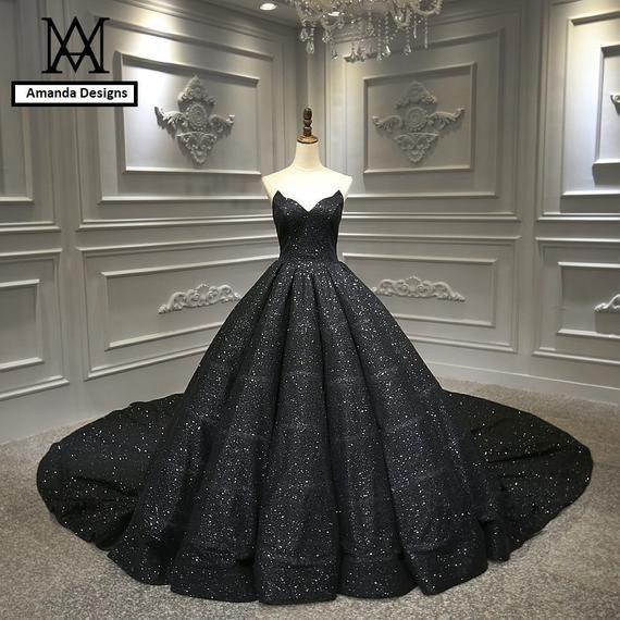 Black Unconventional Sleeveless Pleats Glitter Shiny Sparkle Wedding Dress Bridal Ball Gown Ivory Sparkle Wedding Dress Lace Bridal Gown Bridal Ball Gown