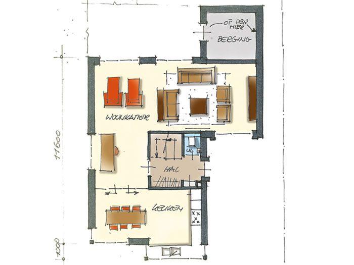 Herenhuis met balkon en riante tuingerichte woonkamer plattegrond begane grond