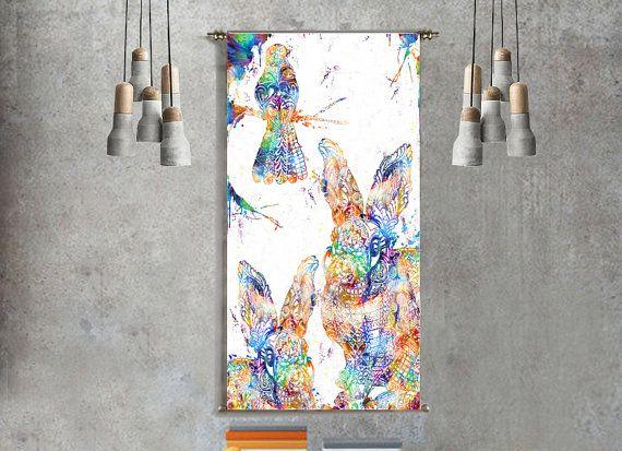 hummingbird and bunny rabbit wall art tapestry mandala wall tapestry wall hanging psychedelic tapestry print poster woodland nursery decor