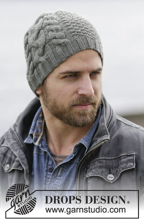 """Hey Handsome! Great hat for men with cables and texture in """"Lima"""". #knitting by #DROPSDesign"""