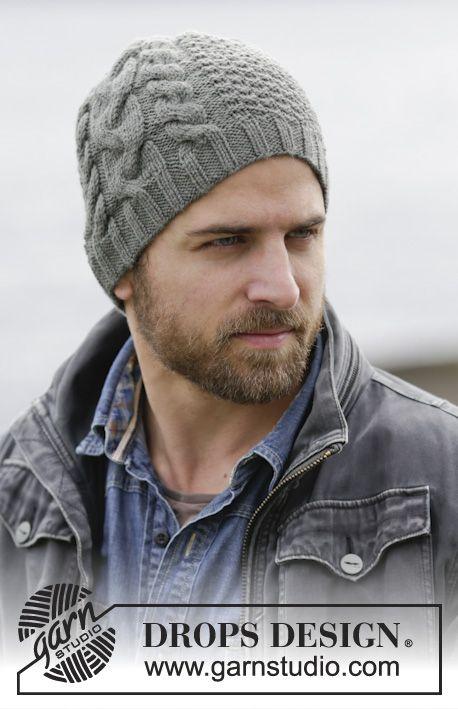 """Finnley's Hat by DROPS Design Bonnet DROPS pour homme, avec torsade et texture, en """"Lima"""". - free"""
