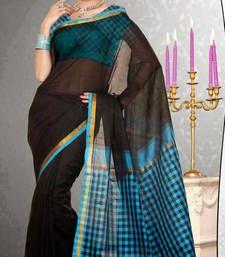 Buy Black Printed cotton_silk saree with blouse banarasi-saree online