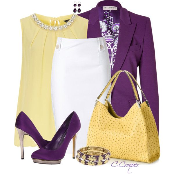 Love the purple blazer. Yellow doesn't work for me, but this would look good with light green as well