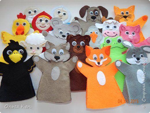 Вот такой кукольный театр я сделала для своих деток. С помощью различных персонажей мы обыгрываем большинство русских народных сказок: репка, курочка ряба, теремок, Маша и медведь, лиса и заяц, зимовье зверей и т.п. фото 1