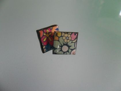 Funky flower resin tile earrings / studs