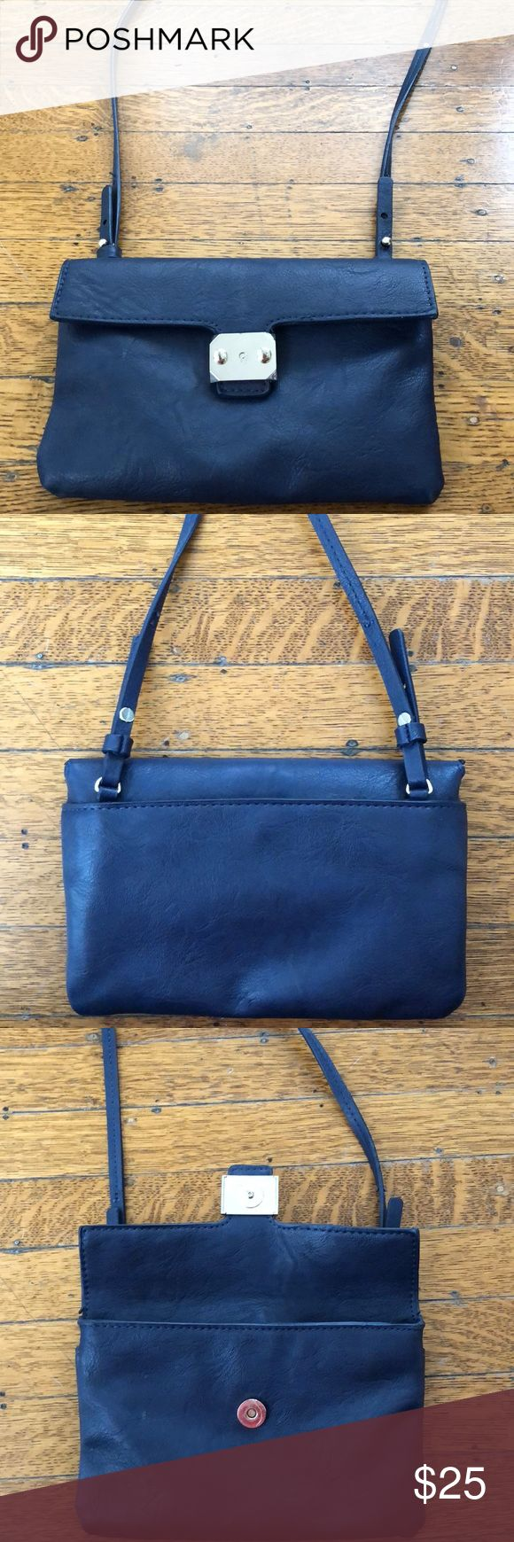 Zara basic small shoulder bag Navy blue Zara Collection shoulder bag in soft, grained imitation leather with a narrow shoulder strap, foldover flap with a magnetic fastener. Perfect for carrying your phone and other essentials on a night out. Slightly used. Zara Bags Shoulder Bags