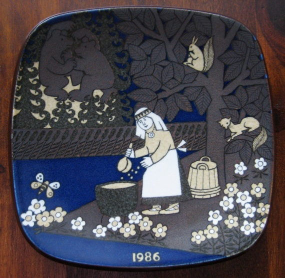 1986 Arabia Finland Kalevala annual plate designed by Raija Uosikkinen