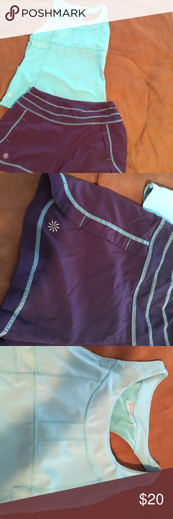 Athleta women's running outfit Athleta women's running outfit in excellent condition. Barely worn. Top is medium with built in bra and bottoms are XS but fit very comfortably. Athleta Other