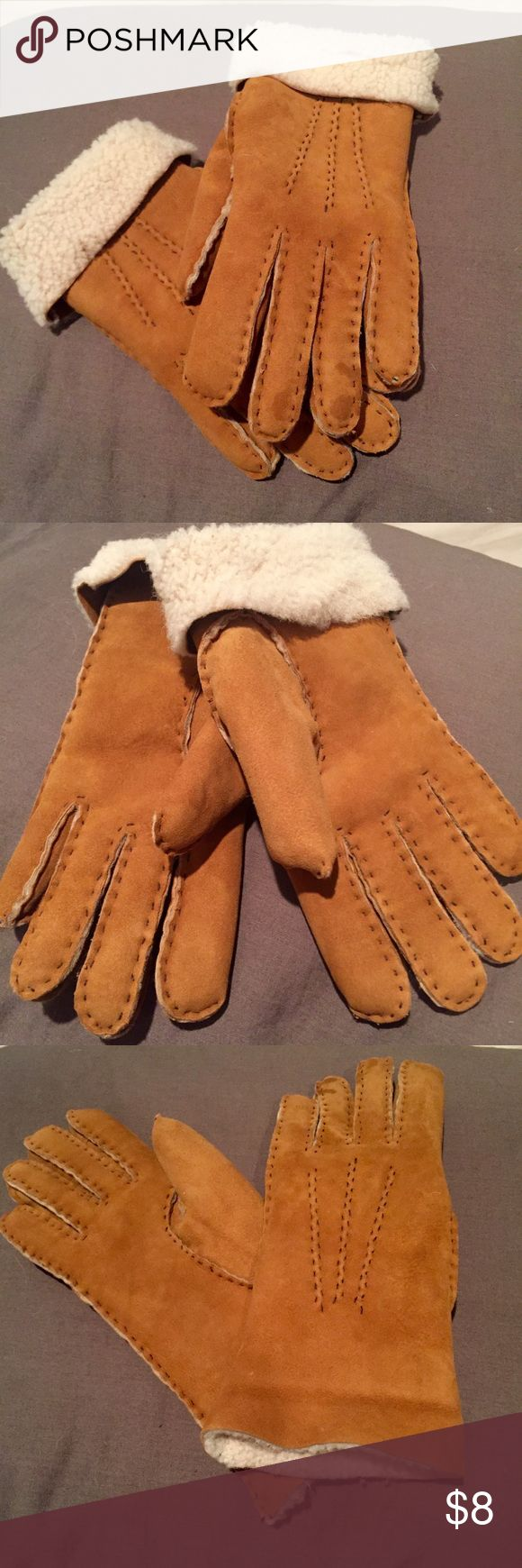 Camel Suede Lined Gloves No tags but never used. Hand size M Accessories Gloves & Mittens