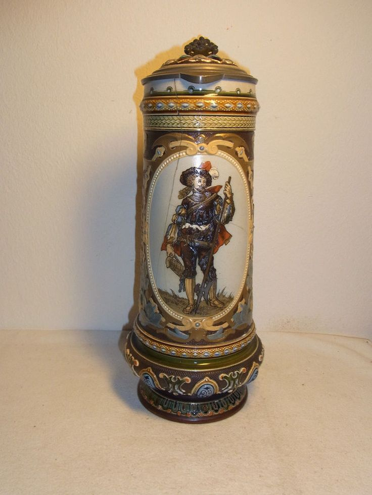 "RARE Antique German Mettlach 13 1/2"" Beer Stein to Restore #^"