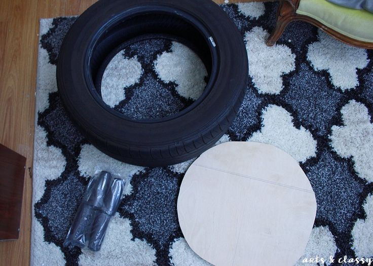 DIY Chic Storage Ottoman Project Tutorial - Tire Upcycle - I decided to gift my project to my mom. She is retiring this week and she just moved into her dream h...