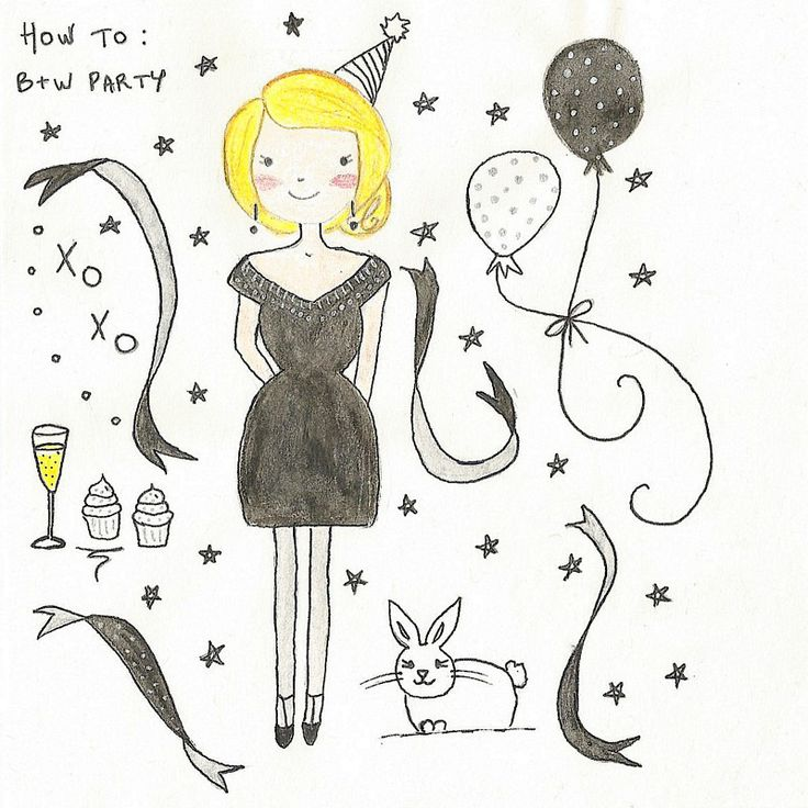 Girl + Luggage  How to black and white party illustration, drawing, art, bunny