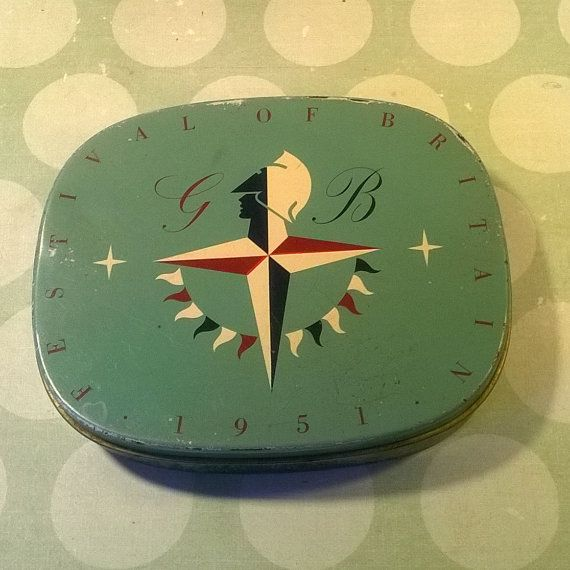 1951 Festival of Britain souvenir tobacco tin by Tinternet on Etsy